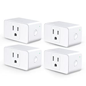 Meross WiFi Smart Plug Mini, Alexa and Google Voice Control, App Remote Control, Timer, Occupies Only One Socket, No Hub Needed, 16A, FCC and ETL Complied (Smart Plug - 4 Pack)
