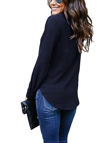Blusas De Mujer Elegantes Camisa De Gasa Manga Larga V Cuello Color Solido Camisas Moda Casual Primavera Otoño Camiseta Top Basicas Modernas: Amazon.es: ...