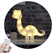 Obrecis Light Up Dinosaur Marquee Sign, Marquee Dinosaur Night Lights with Remote Timer Dimmable for Children Kids Gift Bedroom Baby Nursery Lamp (RC White Dinosaur)