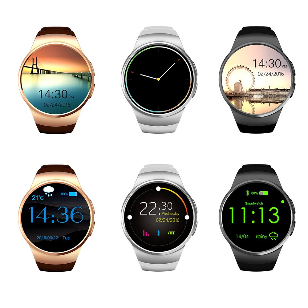 Bluetooth Smart Watch, Keoker 1.3 inches IPS Round Touch Screen Water Resistant Smartwatch Phone with SIM Card Slot,Sleep Monitor,Heart Rate Monitor and Pedometer for IOS and Android Device (Black)