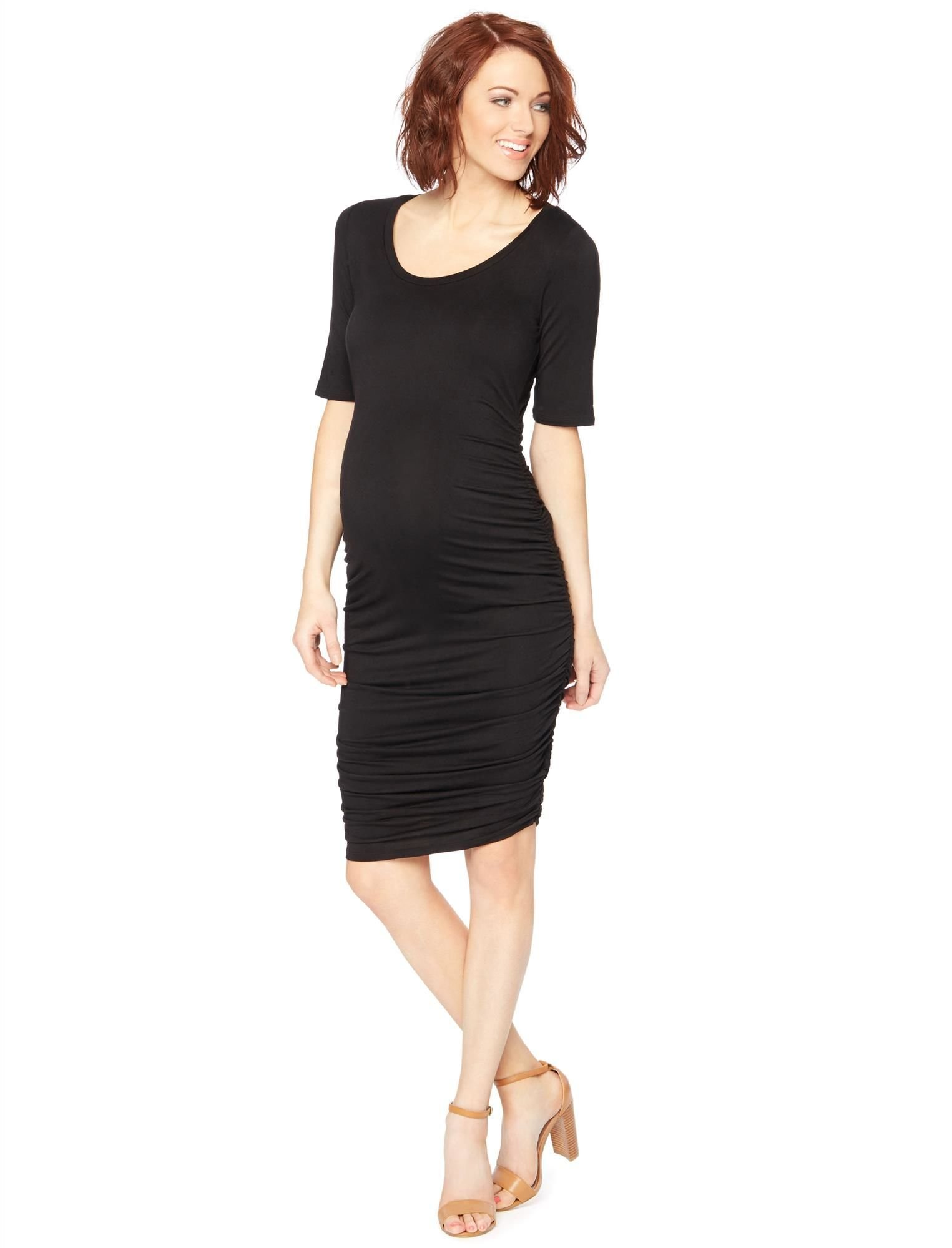 Motherhood Maternity Women's Maternity Elbow Sleeve Side Ruched Tee Shirt Dress, Black, Large