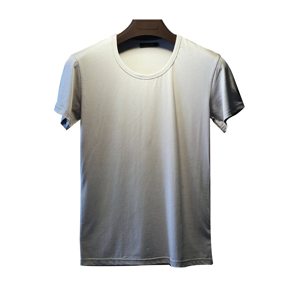 Men's Summer Fashion Slim Fit O-neck Casual T Shirts Silky Cotton Soft Elasticity Short Sleeve Muscle Tops Tee (M, Gray)