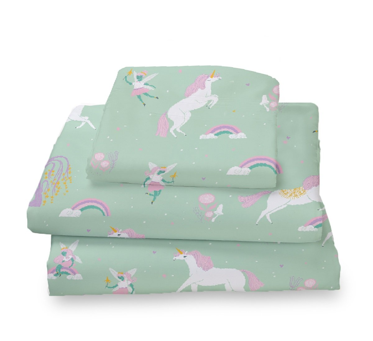 Where The Polka Dots Roam Twin Size Sheets Fairytale Unicorns, Rainbows and Pink Fairy Princess Sheet Set for Girls Bedding - Microfiber Bedding Set