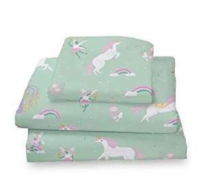 Where The Polka Dots Roam Twin Size Sheets Fairytale Unicorns, Rainbows and Pink Fairy Princess Sheet Set for Girls Bedding - Microfiber Bedding Set