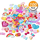 BBTO 100 Pieces Slime Charms Mixed Candy Sweets Resin Flatback Slime Beads Making Supplies for DIY Scrapbooking Crafts