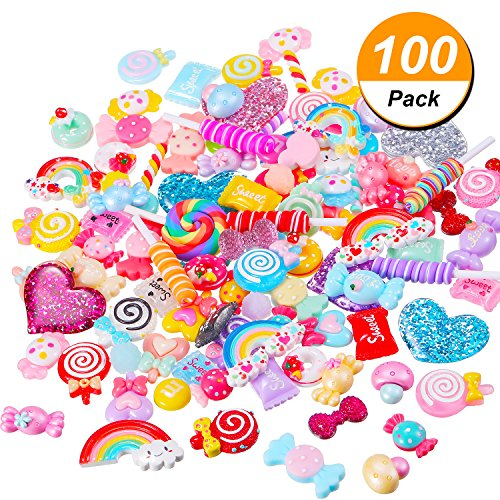 BBTO 100 Pieces Slime Charms Mixed Candy Sweets Resin Flatback Slime Beads Making Supplies for DIY Scrapbooking Crafts by BBTO