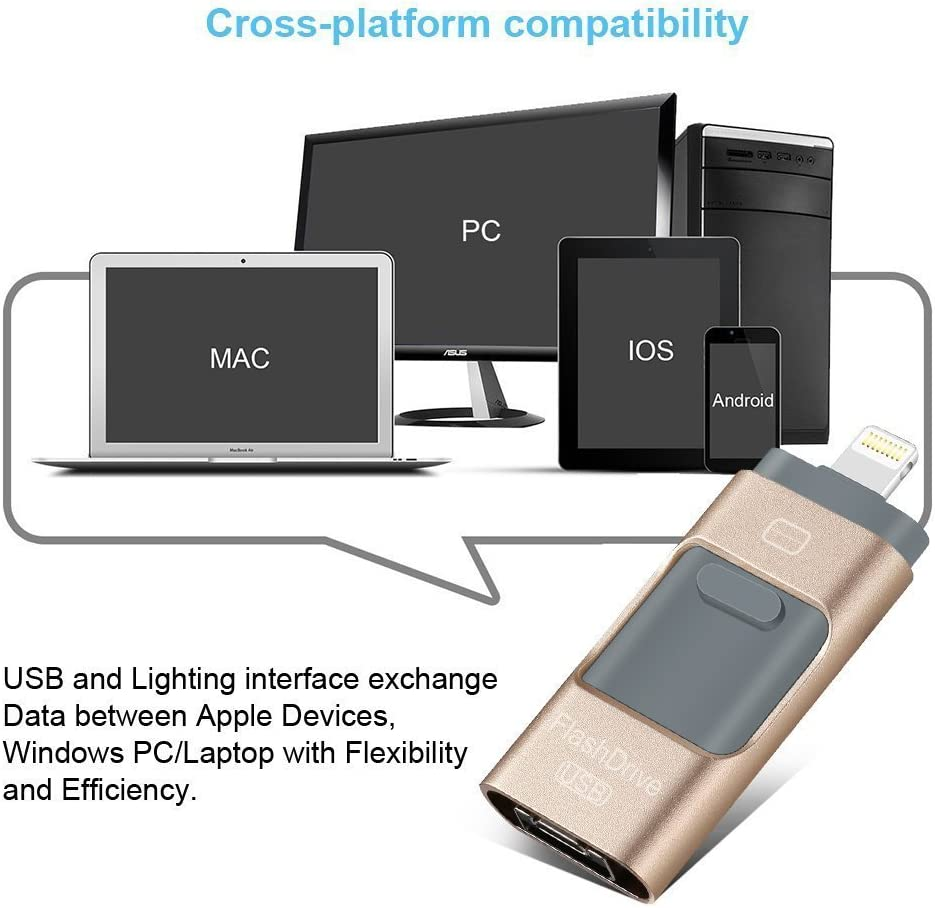 64GB iPad Android Cell Phone and PC morePower2You iPhone USB 3.0 iPhone Flash Drive Memory Stick External Storage OTG iOS Lightning Pen Drive for iPhone 5 6 7 Plus Gold