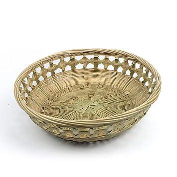 QINGPINHUI - Cuenco de fruta, cesta de mimbre, bandeja de pan, gran ovalada