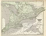 historic maps of canada - National Atlas | 1845 Canada West. | Historic Antique Vintage Map Reprint