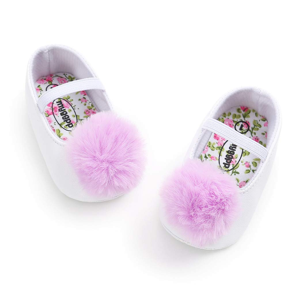 UCQueen Baby Girl Hair Ball Single Shoes Fashion Toddler First Walkers Kid Shoes