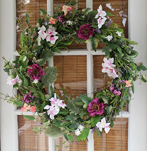 Windsor Silk Spring Door Wreath 24 Inch- Beautiful Silk Front Door Wreath For Spring And Summer Wreath Display, Handcrafted With Care, Beautiful White Gift Box Included