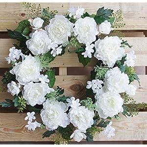 ES ESSENTIALS 24 inch Peony Door Wreath White 120