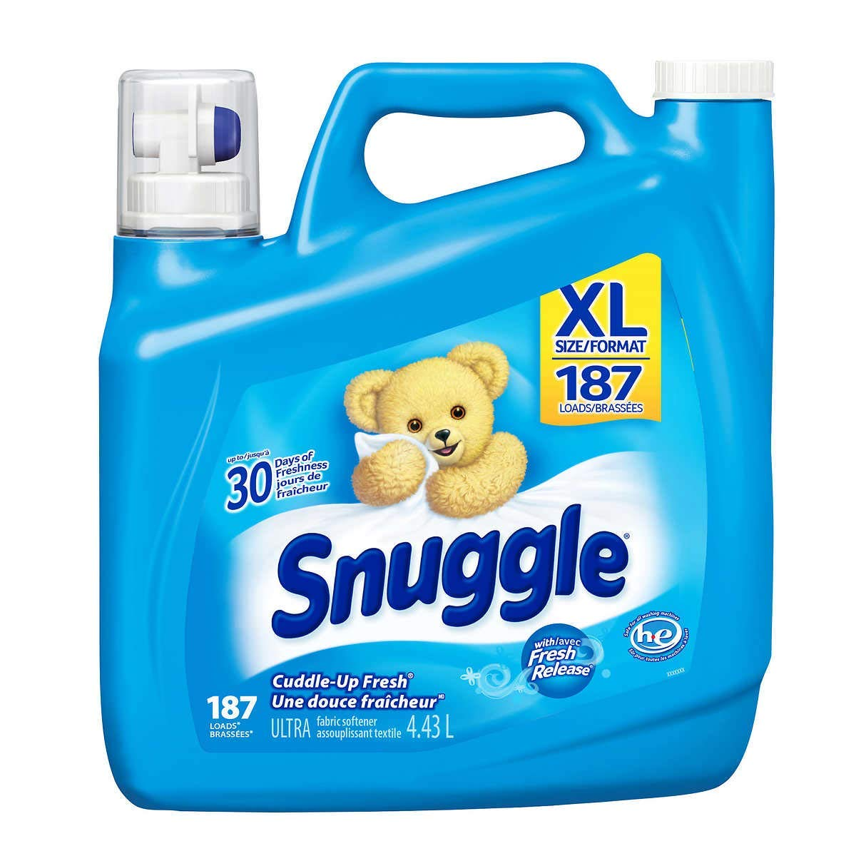 Snuggle Ultra Liquid Fabric Softener, Cuddle Up Fresh Scent | for Standard and HE Machines, 150 Ounces – 187 Loads