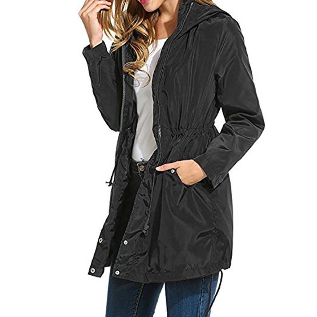 Aurorax Women's Waterproof Raincoat Hooded Outerwear Hiking Waterproof Jacket Rain Coat Rain Jacket Windbreaker (Black, 2L)