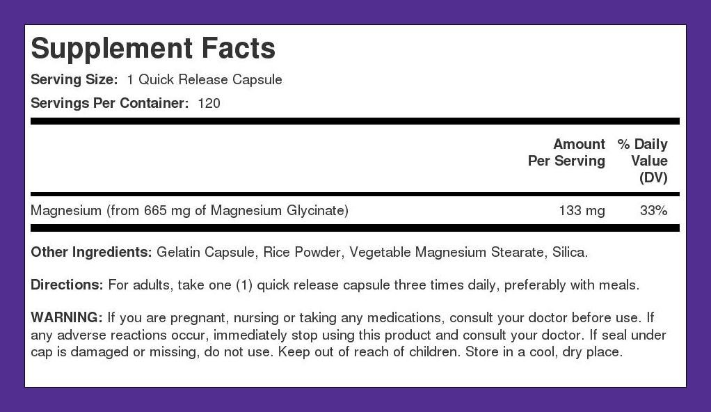 Amazon.com: Magnesium Glycinate 665 mg 120 Capsules: Health & Personal Care