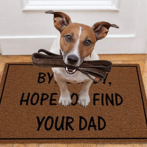 Eprocase Doormat Rubber Backing Door Mat Outdoor Indoor Non-Slip Entrance Door Mat Home Decor Mat Floor Mats Gate Pad, 23.6 x 15.7 Inches, Bye Buddy Hope You Find Your Dad