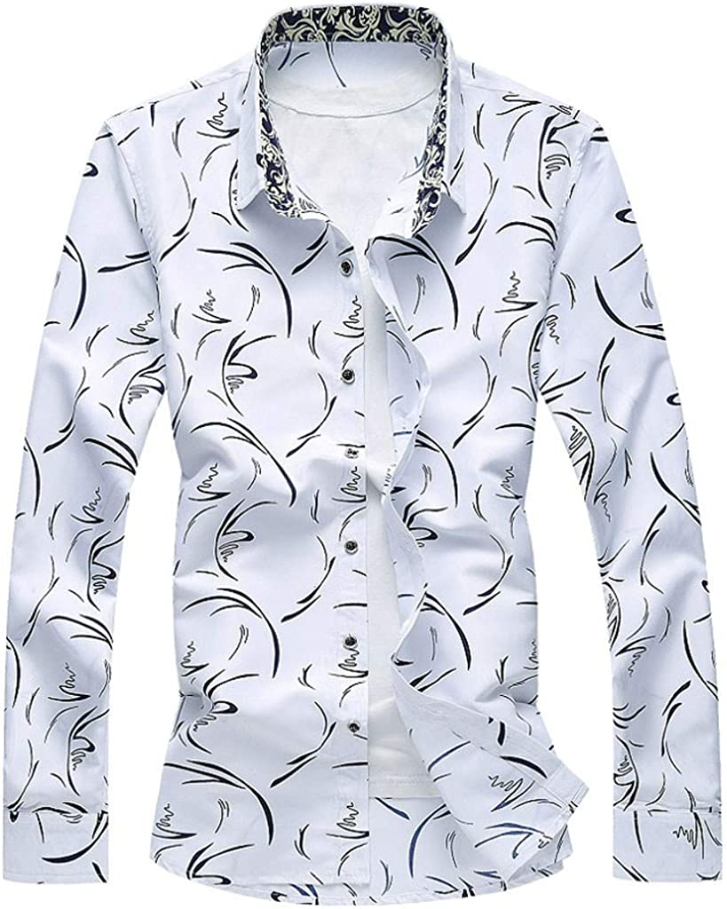 Vicbovo Clearance Mens Casual Shirt Long Sleeve Button Down Slim Fit Shirt Plus Size Fashion Holiday Shirts Tops Blouse