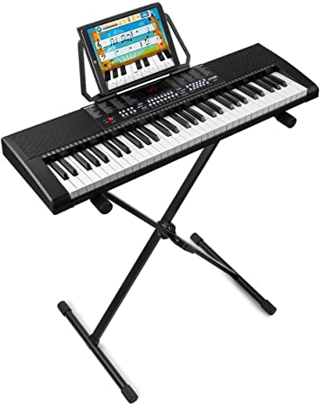 MAX KB4 Teclado electrónico piano de 61 teclas con soporte de suelo regulable en altura