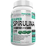 Spirulina 180 Veggie Capsules/Pills - 3000mg/Serving - 500mg/tablet Complete Green Algae Protein Grown In California (Earthrise) Not Hawaiian Pacifica Maximum Strength Supplement Gluten Free Non-irr