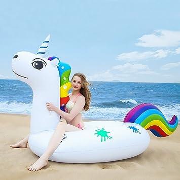 Unicornio Inflable Gigante, Piscina Flotador Balsa Cama Flotante de Verano Recreación Acuática Leisure Lounger Beach