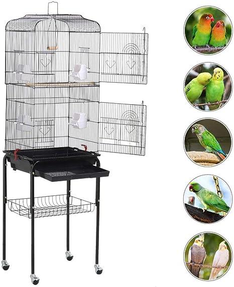 Yaheetech Jaula para Pájaros Jaula de Aves Canarios 46 x 35,5 x ...