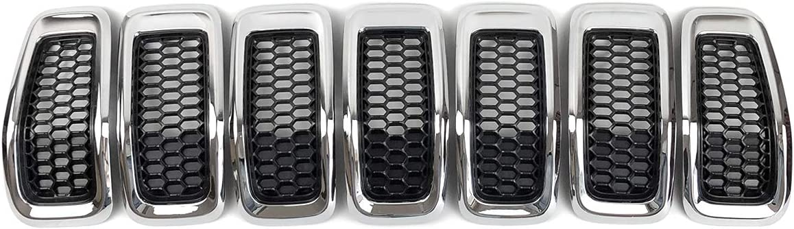 Black Gloss Front Grille Grill Inserts Covers Gloss 7pcs for 2014-2018 Jeep Cherokee