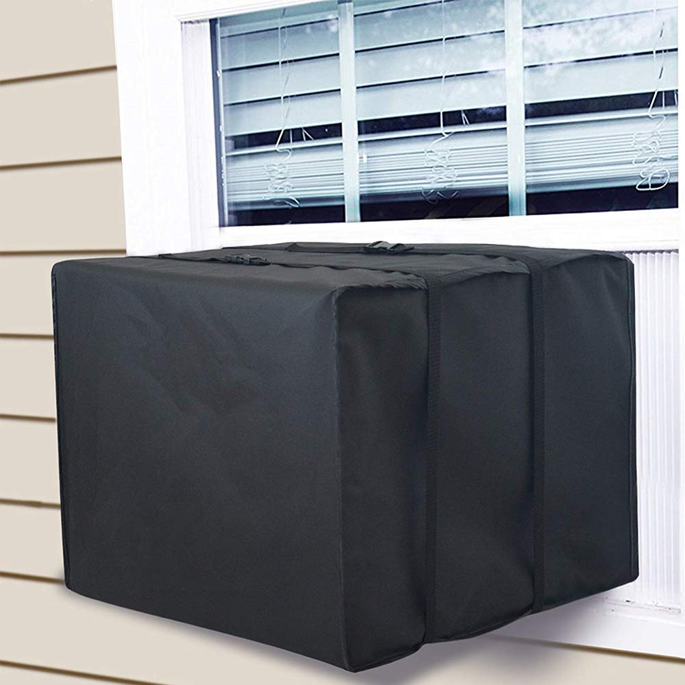 GUSTYLE Window Air Conditioner Cover, Black Winter AC Defender Cover, Bottom Covered (21' W x 16' D x 15' H) Bottom Covered (21 W x 16 D x 15 H)