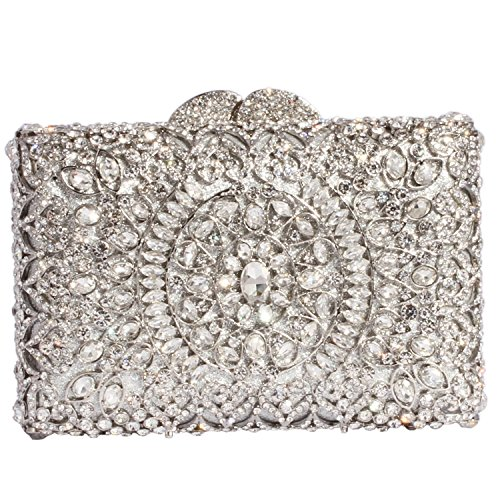 Digabi Circle Pattern Square Shape Women Crystal Evening Clutch Bags (One Size : 6.1*4.5*2.2 IN, white crystal - silver plated) (Silver Bag Plated)
