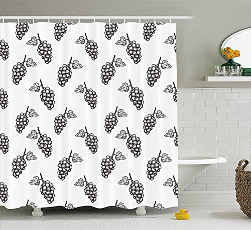 [Grapes Home Decor Shower Curtain Hand Drawn Sketchy Fruits Summer Ripe Simplistic Farmers Graphic Artwork Fabric Bathroom Decor Set with Hooks Gray] (Grape Vine Halloween Costume)