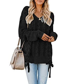 fad7d037e9 Womens Pullover Sweaters Plus Size Cable Knit V Neck Lace Up Long Sleeve  Fall Jumper Tops