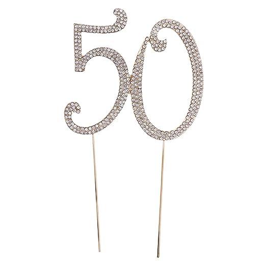 TOYMYTOY 50 Cake Topper para 50.ª fiesta de cumpleaños o aniversario Crystal Rhinestones Decorative Cake Topper para artículos de fiesta (oro)