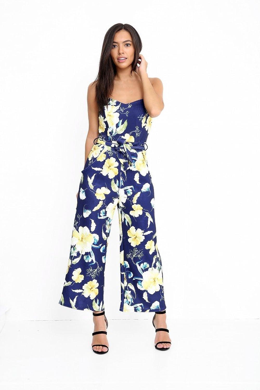 Ladies Strappy Bandeau Floral Print Culotte Jumpsuit UK Size 6-14:  Amazon.co.uk: Clothing