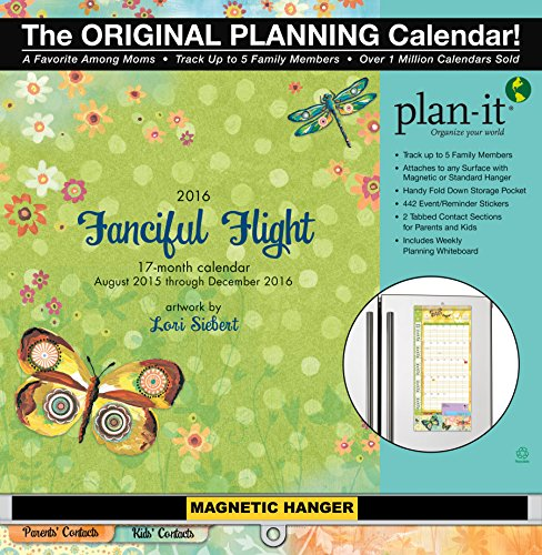 Wells Street by Lang Fanciful Flight 2016 Plan-It Plus by Lori Siebert, August 2015 to December 2016, 12 x 26.5 Inches (7009164)