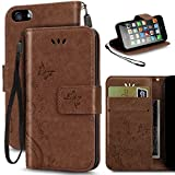 iPhone 5 Case, Korecase Premiun Wallet Leather Credit Card Holder Butterfly Flower Pattern Flip Stand Case for Apple iPhone 5 5S SE With a Wrist Strap - Coffee