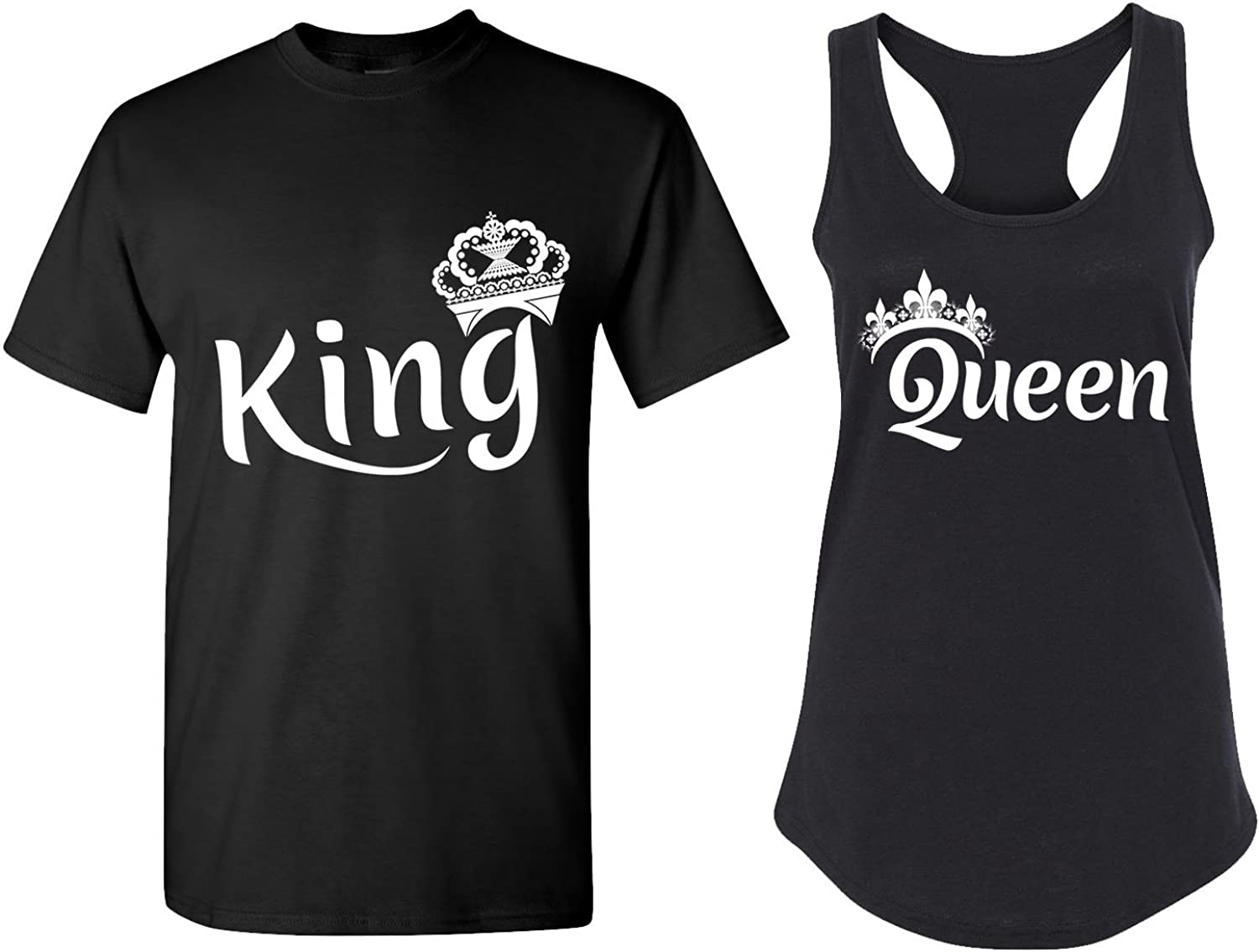 Matching Tank Tops for Couples King and Queen Shirts His and Hers New White