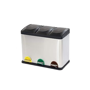 Oypla - Papelera de Cocina con Pedal de Reciclaje (45 L, Acero Inoxidable)