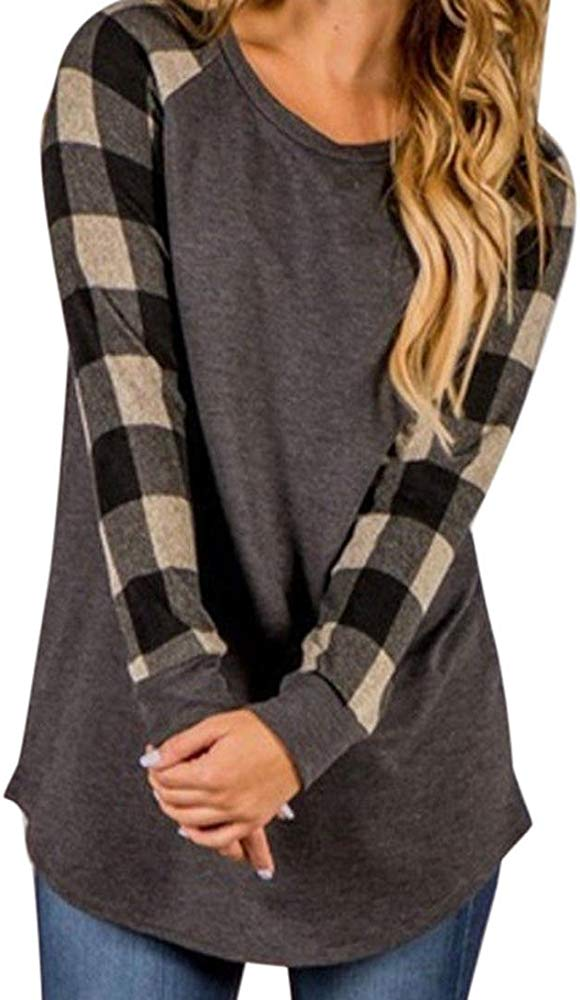 Oasisocean Womens Red Black Buffalo Plaid Shirt Floral Lightweight Sweatshirt Pullover Long Sleeve Elbow Patch Tunic Tops