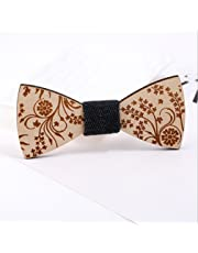 TraveT Wooden Bows Bow Ties for Mens Formal Wedding Design Wooden Bowtie Present-Multicolor