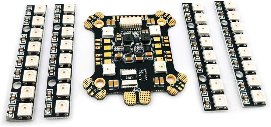 ZHFENG Power Hub-LED REV1 PDB Incorporado en 5V 9V 2A BEC WS2812 LED y 4 PCS Tablero de 8 bits LED for RC Drone Accesorios Herramientas de Bricolaje