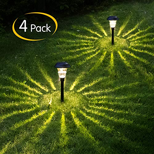 Brightown 4 Pack Solar Path Light Outdoor with Glass Lens, 10 high Lumens, LED Landscape Lighting for Yard, Driveway, Pathway, Patio, Lawn, Garden, Walkway, Natural White, Auto On/Off, Waterproof