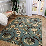Area Rug 5x7 Sage Green Floral Kitchen Rugs and mats | Rubber Backed Non Skid Living Room Bathroom Nursery Home Decor Under Door Entryway Floor Non Slip Washable | Made in Europe