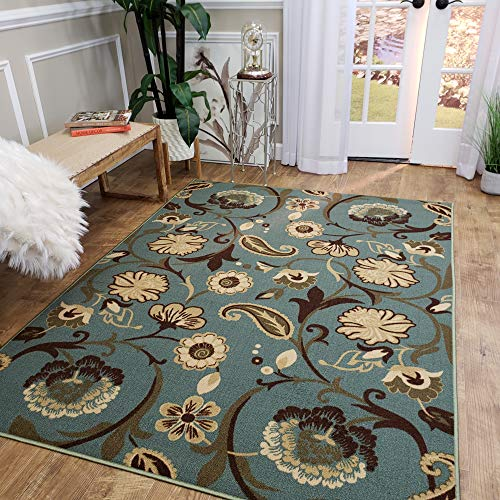 Area Rug 3x5 Sage Green Floral Kitchen Rugs and mats | Rubber Backed Non Skid Living Room Bathroom Nursery Home Decor Under Door Entryway Floor Non Slip Washable | Made in Europe (Washing Machine Water Backing Up Into Kitchen Sink)