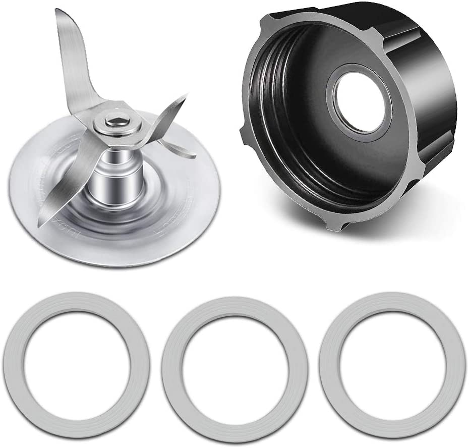 Replacement Parts for Oster Blender, Include 4961-011 Ice Crushing Blade, 4902 Jar Base Cap Blender Jar Cap and 2 Rubber O-Ring Gaskets Seal Compatible with Most Oster and Osterizer Blenders