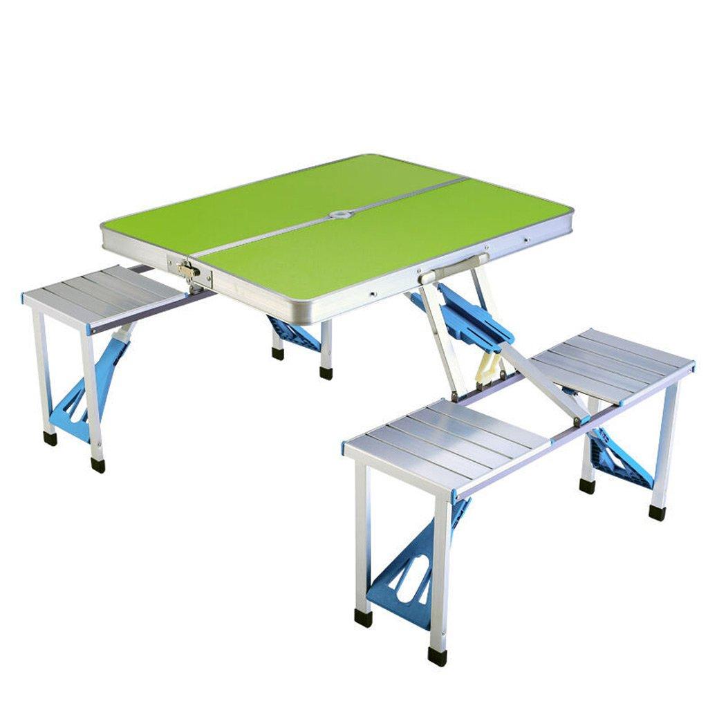 TangMengYun 折りたたみテーブル屋外ポータブルテーブルと椅子バーベキューキャンプのための統合ヘビーデューティアルミ合金テーブル (Color : Green) B07DMKRQ4N Green Green