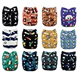 Babygoal Baby Cloth Diapers,One Size Adjustable Reusable Pocket 12pcs Diapers+24pcs Bamboo Viscose Inserts+One Wet Bag+4pcs Baby Wipes 12FB50-2