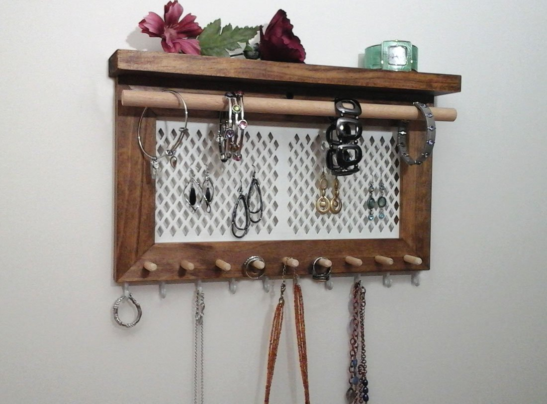 Necklace Holder Wood Frame Jewelry Storage Wall Mounted Jewelry Organizer Jewelry Holder Aviary Wire Earring Holder