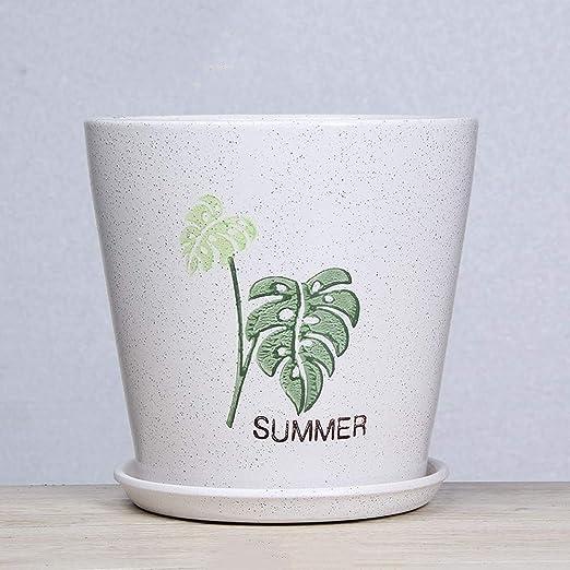 XHZJ Planta cilindro bote blanco de cerámica de cerámica Macetas ...