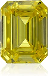 0.60Cts Fancy Vivid Yellow Loose Diamond Natural Color Emerald Cut GIA Cert