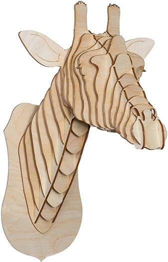 Cardboard Safari Baltic Birch Plywood Animal Taxidermy Giraffe Trophy Head, Juliette Small