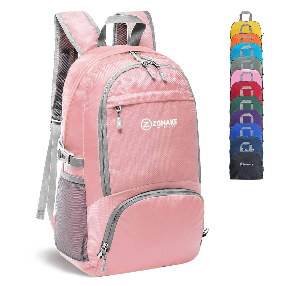 ZOMAKE 30L Lightweight Packable Backpack Water Resistant Hiking Daypack,Small Travel Backpack Foldable Camping Outdoor Bag(Light Pink)